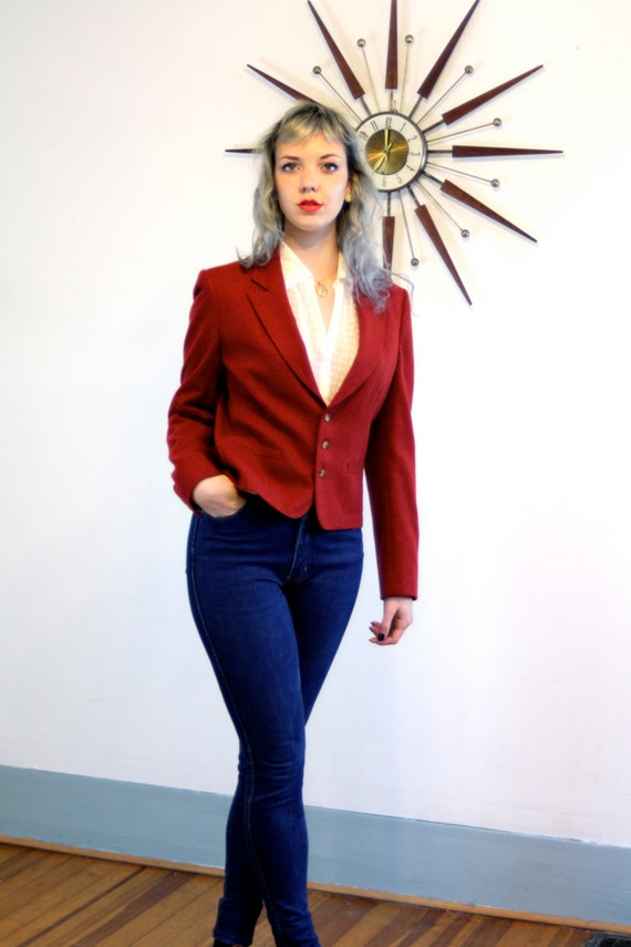 Red wool blazer, 80s wool blazer, Oxblood red jacket, fitted ladies jacket, J G Hook jacket, red foxhunt jacket, 1980s womens blazer, Size 8