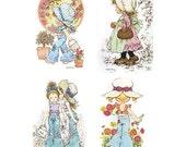 Holly Hobbie - Sarah Kay - Set 1 - A4 Digital Collage Sheet - Printable - For unlimited number of prints