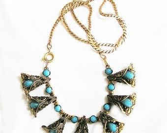 Turquoise in Gold Tone Filigree Bells Necklace