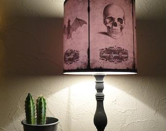 Halloween Curiosities Lamp Shade Lampshade - skull lamp, cabinet of curiosities, gothic lamp, Halloween decor, raven, crow, owl, bat, spider