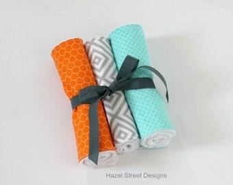 Three Burp Cloths - Orange, Gray & Turquoise