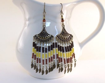 Southwestern Earrings - Brick, Yellow, Brown and Cream Earrings - Antique Brass Earrings - Brass Earrings - Indian Earrings - Boho - E060