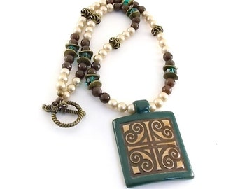 Square Clay Necklace - Spiral Green, Brown and Tan Necklace - Coffee Jade Necklace - Antique Brass Necklace - Clay Design Necklace - N022