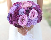 Silk Bride Bouquet Purple and Lavender Shabby Chic Vintage Inspired Rustic Wedding