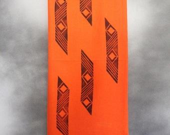Shawl, Orange with Black Pattern Print