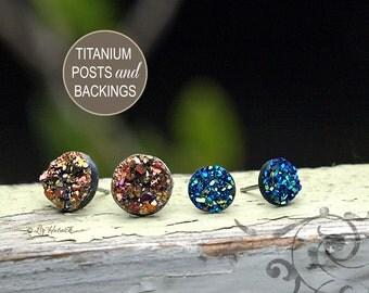 Resin Druzy Glitter Titanium Post Earrings,  8mm Blue Black, 10mm Pink Gold, 2 Pair Faux Durzy Studs