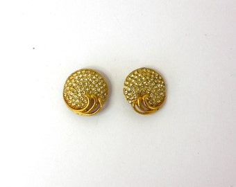 Vintage 60s Rhintstone Shoe Clip Goldtone Metal Small Round w Sparkling Rhinestones Small Clip Back