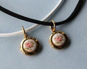 Vintage Limoges locket charm necklace.