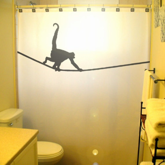 Tightrope monkey shower curtain kids bathroom decor highwire for Monkey bathroom ideas
