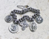 Keep Us Safe...Soldiers, Security Forces & POWs ~ Vintage ELCO Sterling Silver Catholic Medals Bracelet