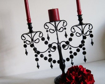 Three Candle Dark and Seductive Unity Candle Candelabra MADE TO ORDER