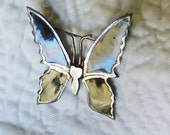 Sterling and Enamel Vintage Butterfly Brooch Pin