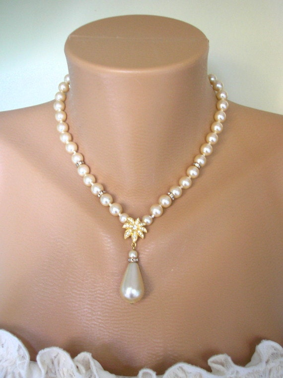 Pearl Drop Necklace Pearl Bridal Jewelry Pearl Bridal