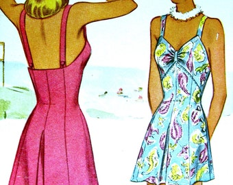 Swimsuit Pattern * UNCUT Vintage 1940's McCall Pattern 6062 ** Glamorous Misses' Bathing Suit and Trunks ** RARE ** Size 14 ..bust 32