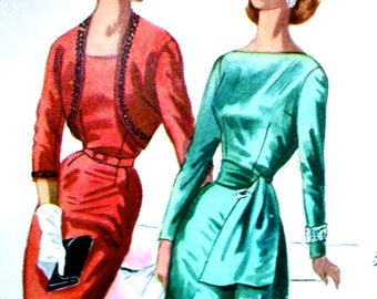 """GLAMOROUS Vintage 1950's """"Easy to Sew""""  Cocktail Party Dress with Sash and Bolero  *  McCalls  Pattern 3425 -- Junior Size 13 ..bust 31"""
