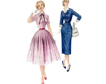 1950s Shirtwaist Dress Pattern Shirt Dress with Slim or Full Skirt Detachable Collar and Cuffs Vintage Sewing Pattern McCalls 3289 Bust 34