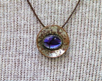 Necklace Purple Paua Shell Copper and Sterling Silver Pendant Handmade One of a Kind Artisan Copper Jewelry