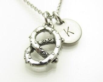 Pretzel Necklace, Pretzel Knot Charm Necklace, Personalized Initial Letter, Food Charms, Antique Silver Pretzel, Monogram Initial Y171