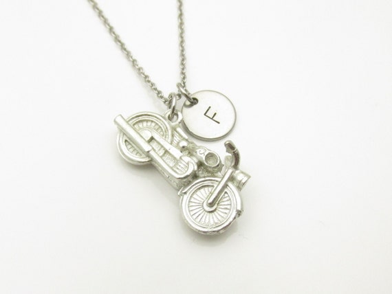 motorcycle necklace silver 3d motorcycle charm initial