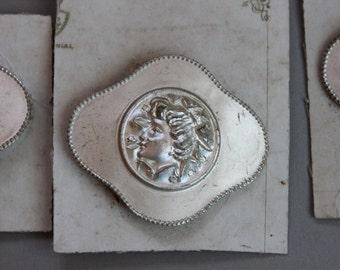 Antique Art Nouveau Silver Goddess Belt Buckle / New Old Stock Original Card / Gibson Girl