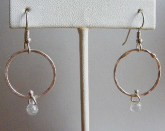 So Simple - Hand Forged Fine Silver Hoop with Cubic Zirconia