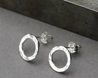 Circle Stud Earrings, Sterling Silver Post Earrings, Nickel Free Handmade Hammered Silver Studs