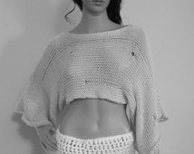 Hand Knit Hobo Sweater, Crop Top, Knit Shrug, Summer Shrug, Distressed Knit Crop Top, Shrug loose knit weave, Knit open loose stitch