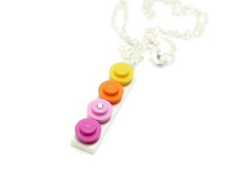 Sunset Ombre Necklace made from New LEGO®  Pieces, Pink Ombre Necklace, Yellow Ombre Necklace