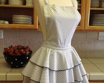 Diva Lingerie Apron - White with black dots and crisscross back.