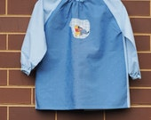 Child's art smock -  age 3 to 4 - Blue smock with Pooh Bear and Eeyore