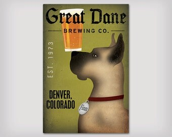 GREAT DANE Custom Personalized BEER Brewing Company Ready-to-Hang Stretched Canvas