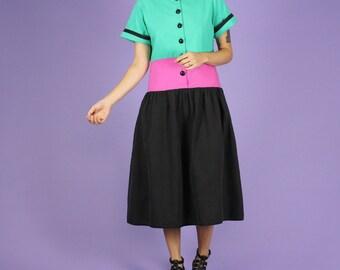 80's Oscar de la Renta Color Block Dress - M