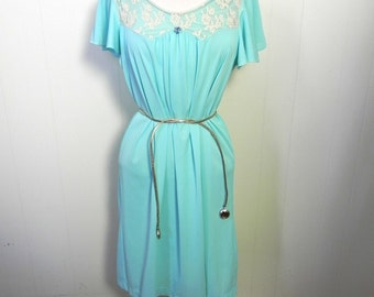 Vintage Night Dress 50s Silky Turquoise Nighty with Lace Trim S M L XL - on sale
