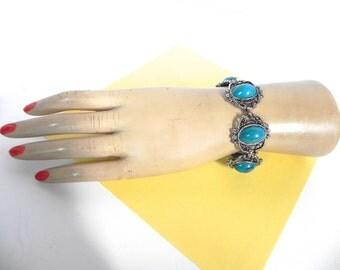 Vintage Bracelet 60s Baroque Turquoise Style  Bracelet - on sale