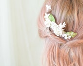 Wedding comb, bridal headpiece, floral hair comb, ivory flower hair piece, bridal headpiece, hair accessory by Gardens of Whimsy on Etsy