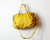 Leather Handbag/ Leather Tote/ Yellow Leather bag/ Leather purse/ Leather tote-Jerrie