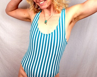 1980s Vintage Striped Green Leotard by Jacques Moret
