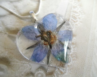 Blue Shooting Star Blossom Glass Heart Pressed Flower Pendant-Make A Wish On A Shooting Star-Nature's Art-Symbol Of Spirituality-Gift For 25