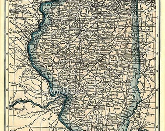 Illinois state map with parts of Iowa and Missouri.  Digital download of vintage 1920s map, in pastel pinks and blues. DIY background image.