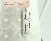 Custom Handwriting Necklace - Signature Necklace - Actual Hand Writing or Signature Pendant - Fine Silver Handwriting Jewelry - Signature