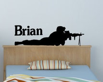 Soldier wall decal boys name sticker military decal teen boys room personalized vinyl wal decal army marine decal -8 X 28 inches