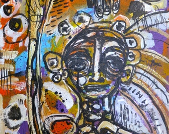 """Outsider Expressionist Abstract Original Painting Raw Wall Art Person by Julie Steiner…""""In NEED of a PICK Me UP"""""""