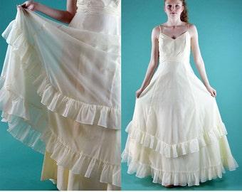 Vintage 60s Sheer Maxi Dress / Spaghetti Straps Empire Waist Long Maxi Dress / Cream Chiffon Ruffled Maxi Evening Dress Wedding Dress S / M