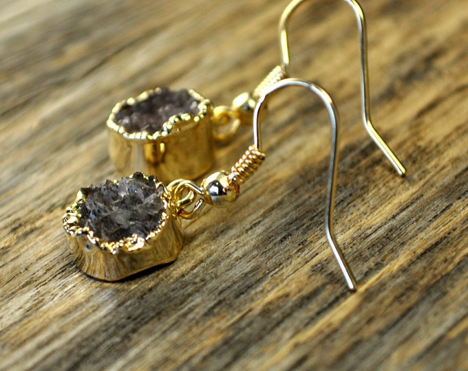 Druzy Earrings, Druzy Gold Earrings, Druzy Jewelry, Druzy Pendant Earrings, Druzy Gold Round Earrings, Druzy Stone, 14k Gold Fill Ear Wire
