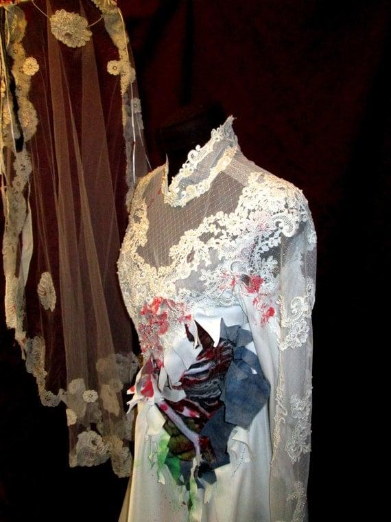 Zombie Wedding Dress For  : Zombie bride costume s wedding dress gown burton with veil