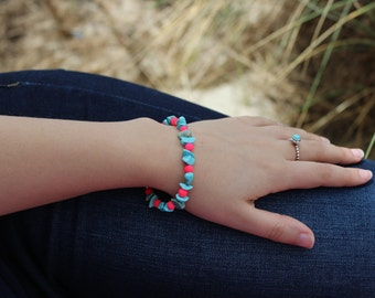 Turquoise and Neon Pink Beaded Bracelet.
