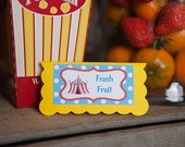 Circus Party Menu Cards - Food Tents -  Place Cards - Food Signs - Carnival Birthday Party Decorations - Circus Decorations - Carnival Party