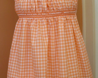 Hand Smocked Gingham Apron/Backless Hippie Top in 1960s Style, Crisscross Ties