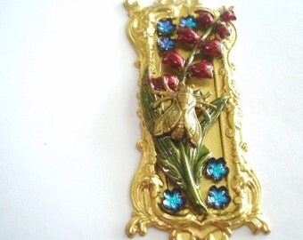 Lily of Valley Blue and Ruby Red Flowers Fly  Brooch