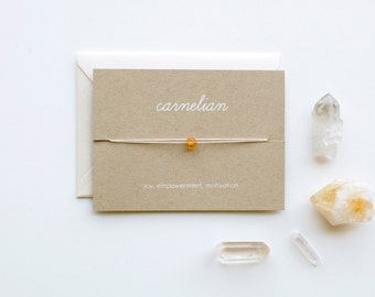 Carnelian - Crystal Card - friendship necklace or bracelet - gold - carnelian - bridesmaid gift - birthday - best friends - bff - love